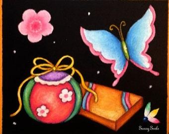 Butterfly & ball Digital Chalkart