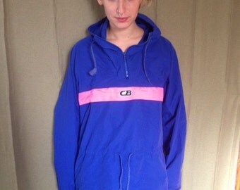 90s Ultra-Violet Neon Windbreaker // Hot Pink CB Stripe // Vaporwave