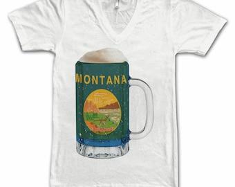 Ladies Montana State Flag Beer Mug Tee, Home State Tee, State Pride, State Flag, Beer Tee, Beer T-Shirt, Beer Thinkers, Beer Lovers Tee