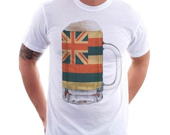 Hawaii State Flag Beer Mug Tee, Unisex, Home State Tee, State Pride, State Flag, Beer Tee, Beer T-Shirt, Beer Thinkers, Beer Lovers Tee