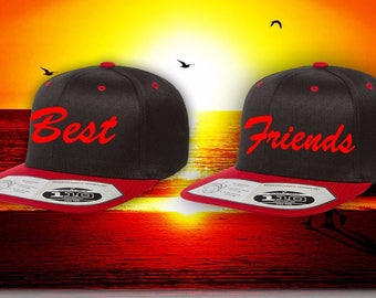 BEST FRIENDS 2 tone Red and Black Embroidery Snapback Hat high quality hat stitched