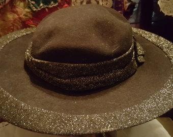 Vintage Black Wool Felt Hat inside label says Betmar New York