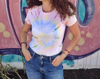 Soft Tie-Dye t-shirt Unisex // Women, short sleeve, hand dyed, 60s, hippie, cotton