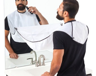 Mens Beard Bib - Facial Hair Apron - Shave / Trim Your Beard Into This Bib & Leave No Mess!