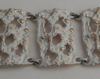 NAPIER Abstract Molten Metal White Enamel Bracelet