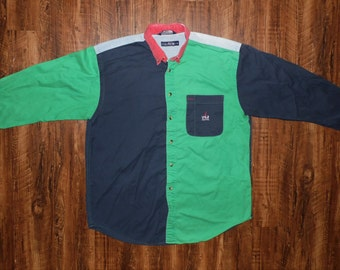 Vintage 90s Nautica Color Block Long Sleeve Button Up