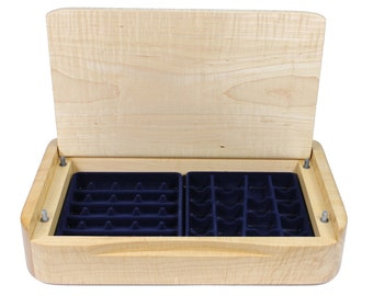 Contemporary Wooden Jewelry Box - Modern Handmade Curly Maple Jewelry Storage With Soft Close Lid -  Limited Edition Number 1 of 4