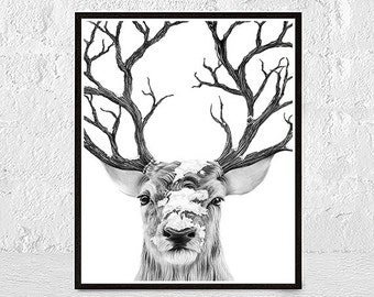 Deer Print, Forest Animal Wall Print, Woodland Nursery Wall Decor, Woodland Nursery Wall Print, Forest Animal Wall Art, Deer Wall Art