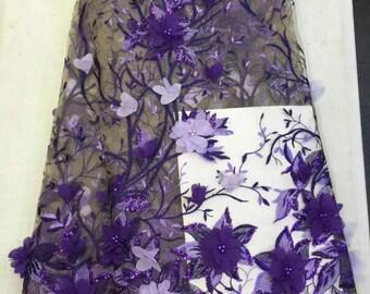Chiffon 3d flower wedding lace