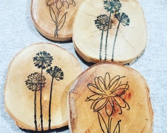 Birch flower coaster set