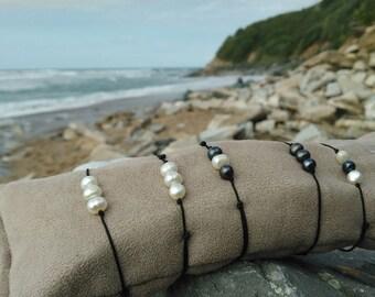 chic bracelet or bracelet for anklet mini natural sweet pearl white black adjustable for woman child bebe with sliding knot