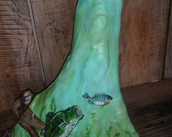 Hand painted cypress knee with bass scene