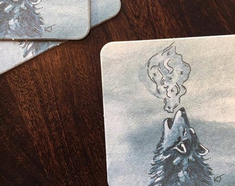 Watercolor Wolf Coasters (4 Pack)