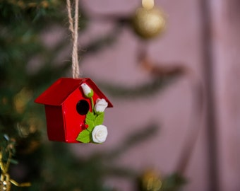 Small Red Birdhouse - Pendent Home Decor With Polymer Clay Flowers