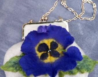 Felted Bag Handbag Purse wild Felt Nunofelt Nuno felt Silk Silkyfelted Eco handmade Violet fairy multicolor floral fantasy