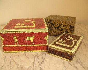 3 vintage paper boxes