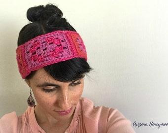 Pink Crochet Headband - The Becky Headband (50% of Sales to Ending Domestic Violence)