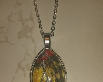 Yellow and red wing necklace
