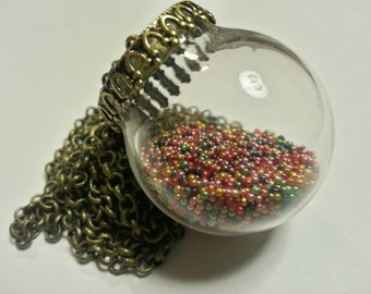 Bead Filled Pendant Necklace
