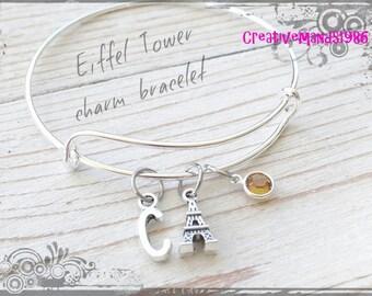 Eiffel Tower Bangle Bracelet, Initial Bracelet, Birthstone Bracelet, Personalized Bracelet