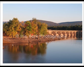 Trees Reflecting in Water, Fall Foliage Colors, Bridge, Ashokan Reservoir, Mountains, Landscape Photography, Autumn, Water Print, Wall Art