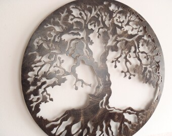Tree Of Life, Metal Art - Antique Finish, Framed, 70 cm in Diameter (27,5 inches)
