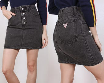 Vintage Guess Jean Skirt // 80s Denim Mini Skirt Black Button Fly - Extra Small xs