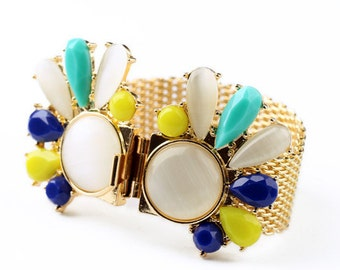 Colorful Chunky Statement Cuff Bracelet
