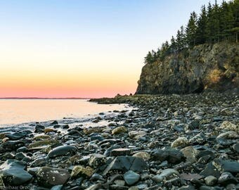 Matted, Color Photograph Print of Owls Head State Park, Maine