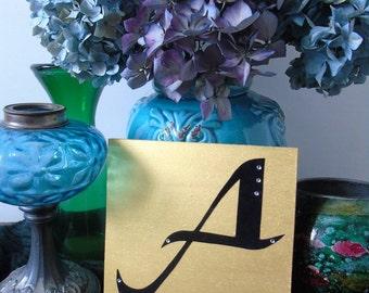 A do letter on wood, wooden letter hand, handmade, gift, present, gold or silver, gold or silver, black velvet, black velvet, rhinestones