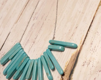 Turquoise necklace - Turquoise pendant - Silver necklace - Turquoise spikes - Statement necklace - Turquoise silver - Turquoise - Necklace