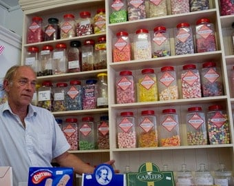 Old Fashioned Sweetshop Enland, Traditional Sweetshop in England, Colour Photograph Traditional Sweetshop England, Poster of Sweetshop