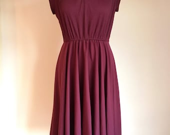 Purple Retro Dress Full A Line Bow Neck Tie Sleeveless Small Vintage 80s