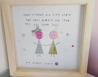 Good friends are like stars picture and frame. friendship gift/ present