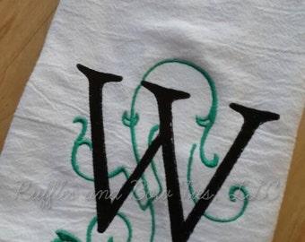 Popular Monogram Farmhouse Kitchen decor - kitchen decor - Embroidered monogram tea towel - Vine monogram flour sack towel - wedding gifts
