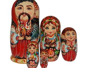 """Nesting Doll """"Ukrainian Family"""" 5 in 1"""
