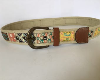 "Wonderful Vintage Women's Fossil Patchwork Fabric and Leather TrimWide Belt, Brass Buckle Size Sm 29""-31"" Excellent !"