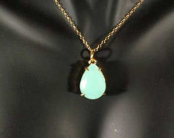 Aqua Blue Tear Drop Pendant Necklace