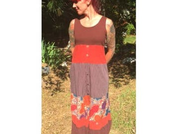 Upcycled recycled repurposed eco-friendly rust maxi dress refashioned boho gypsy hippie prarie reclaimed redeemed