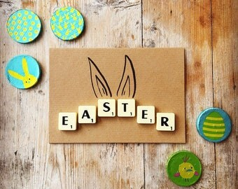 Handmade Scrabble Easter Kraft Card- scrabble tile greeting cards for all occassios