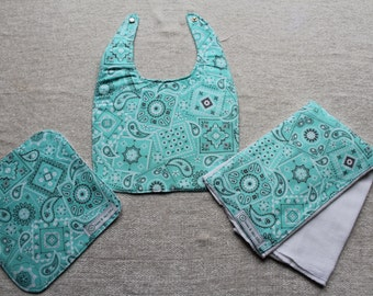 Teal bandana print bib, burp cloth, and wipe gift set