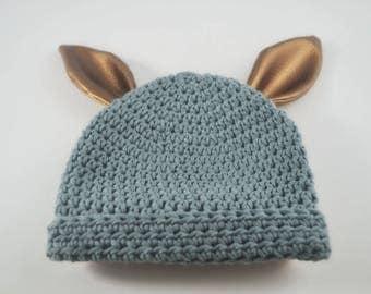 Denim Blue Bunny Beanie with Bronze ears