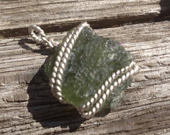 Real Genuine MOLDAVITE Meteor Tektite .925 Silver Wire Pendant! ~ #3
