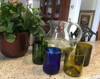 Recycled wine bottle glasses set of four