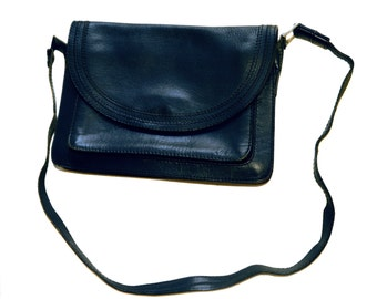Vintage Mabelle leather purse navy blue bag handbag Ma Belle