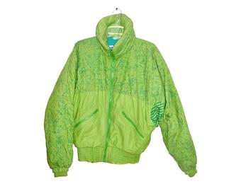 Vintage Schmello Designer women green snow jacket Anoralp Skiwear France Made in France 80s