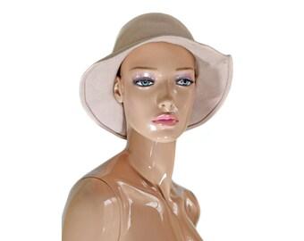 Vintage fedora women beige hat