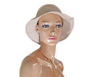 Chapeau femme beige Vintage fedora