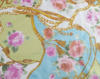 Vintage women scarf 100% polyester Made in Italy flowers roses multicolor