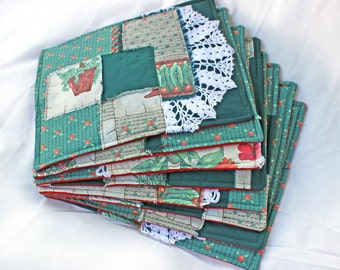 country placemats, handmade placemats, unique upcycled fabric, 8 set fabric placemats, green and red, eco friendly
